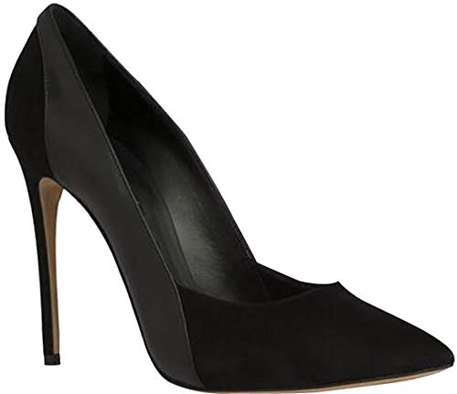 Calaier Womens Jtabk Pointed-Toe 12CM Stiletto Slip-on Pumps Shoes, Black, 5.5 B(M) US