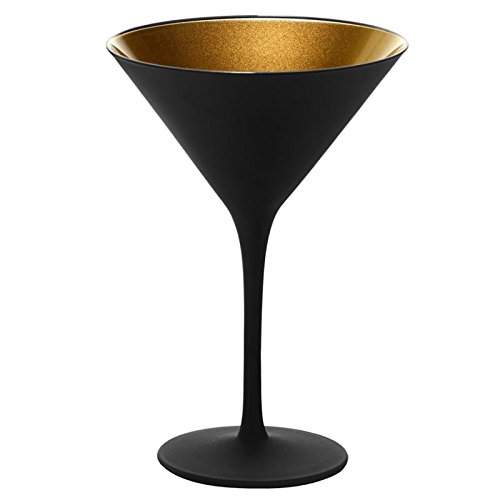 IWA Black Martini Glass Gold Interior Set of 2#27268]()