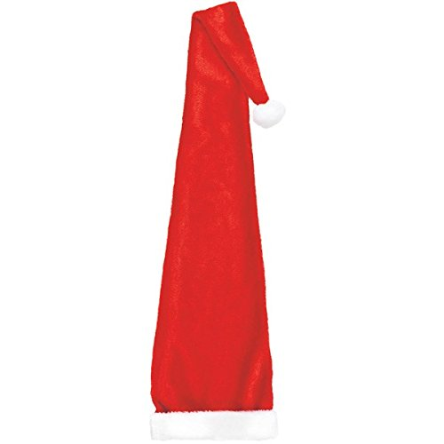 """Amscan Fun-Filled Christmas and Holiday Party Long Santa Hat (1 Piece), 60"""" x 12"""", Red/White"""