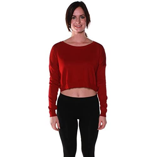Cheap Emmalise Women's Light Weight Crop Sweater Scoop Neck Long Sleeves for sale