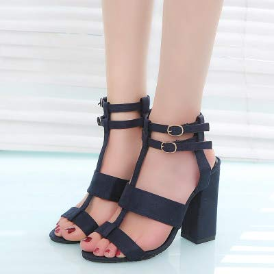 JingZhou Summer Womens Sandals Square Heel 10cm Navy Female High Heels Shoes Woman Ankle Strap
