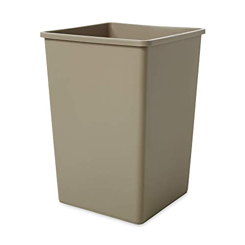 Rubbermaid Commercial Products 35-Gallon Untouchable Square Trash/Garbage Can for Offices/Stores/Restaurants, Beige - Garbage Square