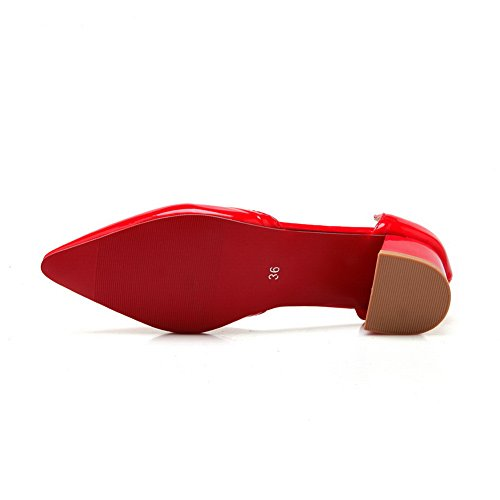 Balamasa Mesdames Pull-on Talons Chunky Point-toe En Cuir Verni-pompes-chaussures Rouge