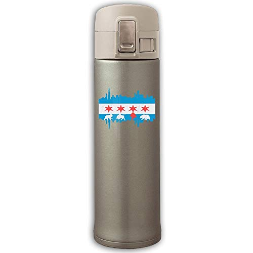 Stainless Steel Vacuum Flask Chicago Flag Skyline Bear Leak-Proof Vaccum Cup With Bounce Cover Yellow ()