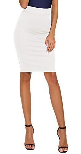 Women's High Waist Bodycon Midi Pencil Skirt (XL, White)