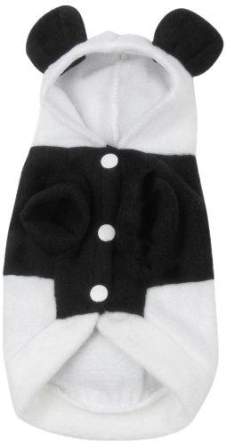 Jardin Coat (Jardin Panda Design Yorkie Single Breasted Coat/Hoodie for Pets, X-Small, White/Black)