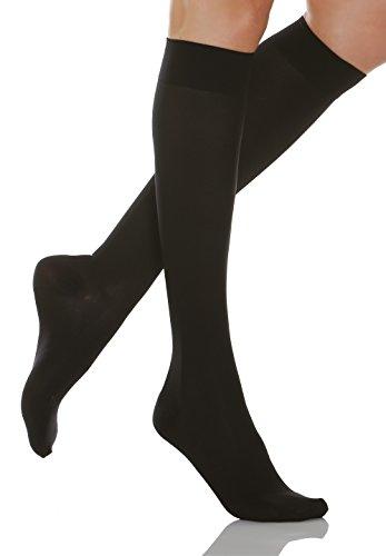 Relaxsan Microfibre 850M (Black, Sz.3) - microfiber moderate support knee high socks 15-20 mmHg (3 Socks Pack Microfiber)