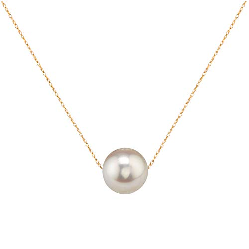 "14K Gold 10-11mm Freshwater Cultured Floating Pearl Tin Cup Chain Necklace Jewelry for Women 17"" (White, yellow-gold)"