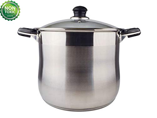 20 Quart Commercial Grade Stainless Steel High Stockpot/Non-Toxic Cookware/Dishwasher Safe Heavy-Duty [Encapsulated Bottom For Efficient Heat Distribution] ()