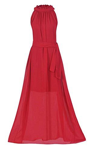 VSVO Women Halter Neck Sleeveless Chiffon Maxi Dresses (One Size, Red)