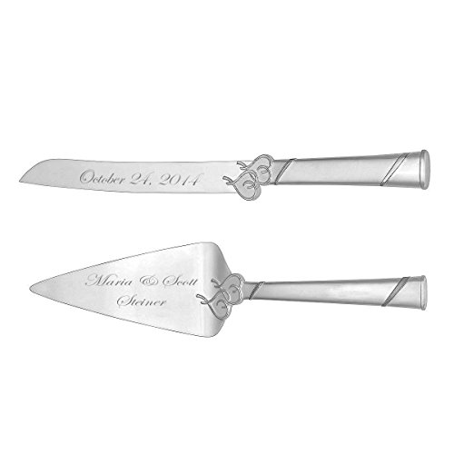 (Personalized Locked In Love Double Heart Wedding Cake Knife & Server Engraved)