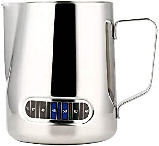 600ml Milk Jug Pitcher Thermometer Coffee Espresso Stainless Steel Frothing