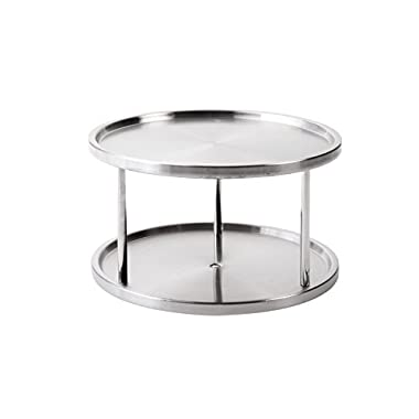 Lazy Susan Turntable Kitchen Organizer Spices Tableware Food Service - 10.5  Stainless Steel