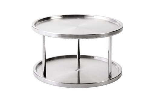 "Lazy Susan Turntable Kitchen Organizer Spices Tableware Food Service - 10.5"" Stainless Steel"