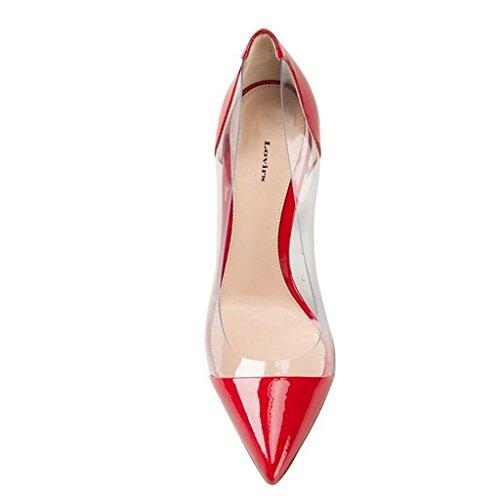 Lovirs Zapatos Alto Patent de Zapatos Mujer Rojo Sexy Vestir Vestir Boda de para Puntiagudo de Tacón Red T1qTwR