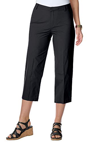 (Jessica London Women's Plus Size Capri Pants in Poplin - Black,)