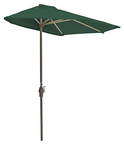 Awnings Portable - Blue Star Group Off-The-Wall Brella Sunbrella Half Umbrella, 7.5'-Width, Forest Green