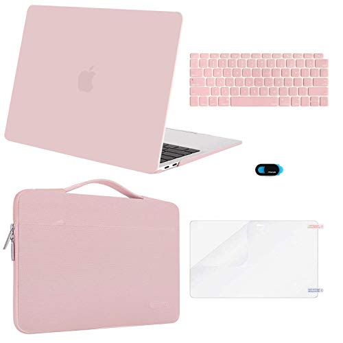 MOSISO MacBook Air 13 inch Case 2019 2018 Release A1932 Retina Display, Plastic Hard Shell & Sleeve Bag & Keyboard Cover & Webcam Cover & Screen Protector Compatible with MacBook Air 13, Rose Quartz