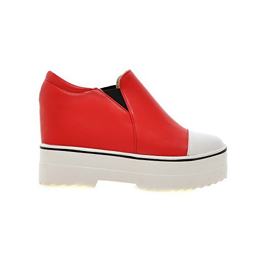 Amoonyfashion Mujeres Round Closed Toe Tacones Altos Material Suave Pull-on Pumps-Zapatos Rojo