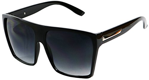 Basik Eyewear - Big XL Large Square Trapezoid Shaped Frame Oversized Fashion Sunglasses (Glossy Black w/ Silver, Gradient - Mens Square Sunglasses