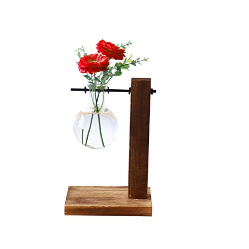 Ivolador Bulb Vase (Name:Flame)in Display Wooden Stand Flower Pots for Hydroponic Plants