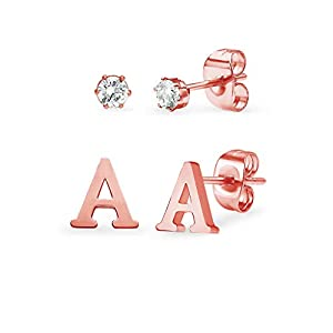 Stainless Steel Rose Gold Tone Alphabet Initial Letter Tiny Earring Studs With 3mm Cubic Zirconia Stud Earrings Set Letters A-Z