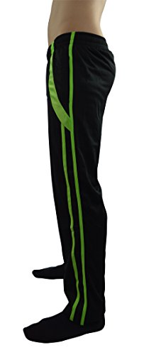AllPro Men's AP Pace Warm-Up Pants Track Pants Open Bottom (X-large, Black/Neon Green)