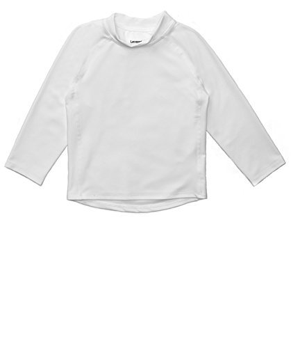 Leveret Long Sleeve Baby Boys Girls Rash Guard Sun Protected UPF + 50 Kids & Toddler Swim Shirt (White, Size 2 Toddler)