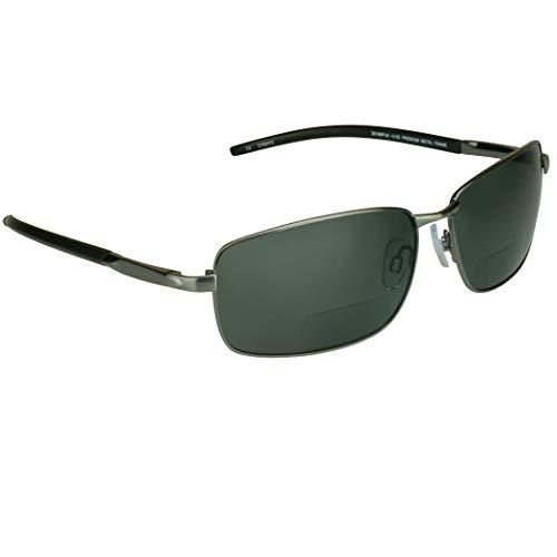 proSPORT Polarized Bifocal Sunglasses Gunmetal Frame Smoke Lens +2.50 for Men and Women. Premium Anti Glare Polarized Lenses and Durable High Nickel Metal Frames. (Sunglass Readers Polarized)