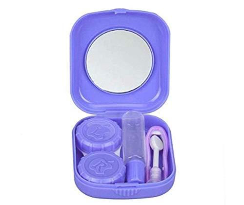 Cafurty Mini Travel Contact Lens Case Kit Holder Mirror Box - Purple