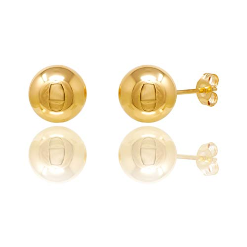 14KT Yellow Gold Ball Stud Earrings With Butterfly Pushbacks (8MM) ()