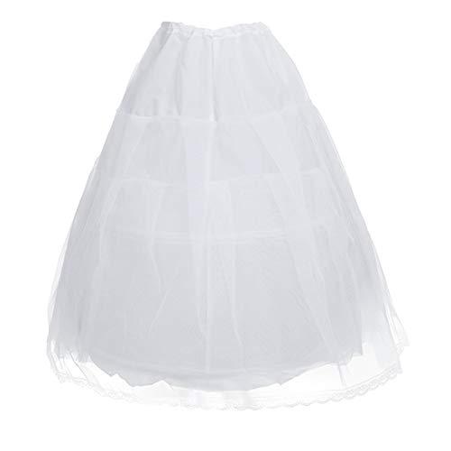Freebily Kids Girls Hoopless Petticoat Long Crinoline Skirt Full Slip Flower Dress White 2 Hoop Underskirt