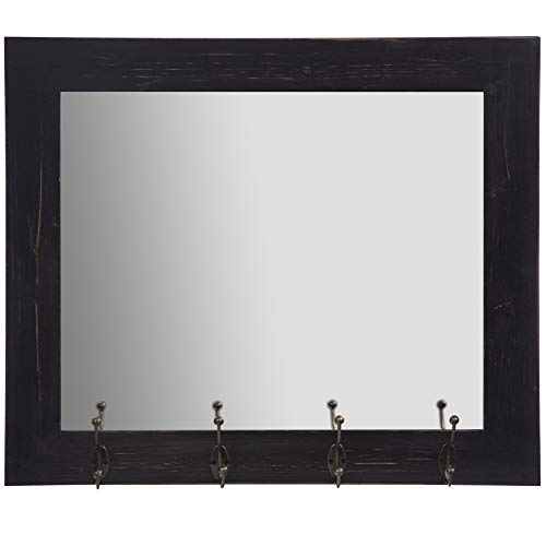 Everly Hart Collection Rustic Black Entryway Wall Mount Hooks Mirror (Holder Wall For Mirror Key)