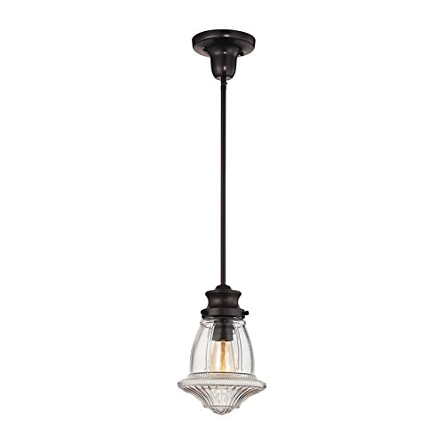 Pendant Light with Reeded Clear Glass Shade