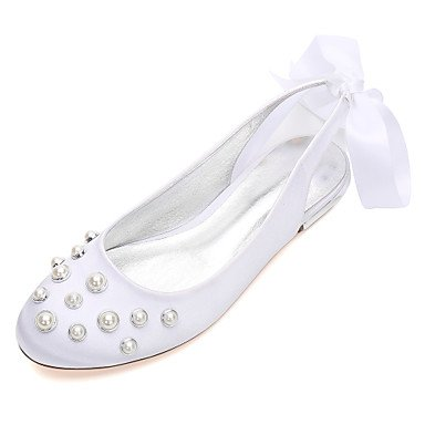 Dress Satin Champagne Blue Ruby Bowknot Party Spring Comfort Wedding Shoes amp;Amp; US5 Rhinestone Wedding EU36 RTRY UK3 5 Heelivory 5 CN35 Summer Evening Women'S Flat qwaIPP