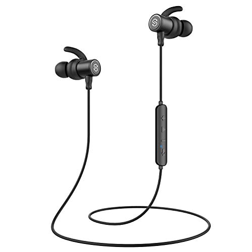 SoundPEATS Alexa Enabled Bluetooth Headphones Wireless Earbuds in-Ear IPX6 Sweatproof Magnetic Earphones with Mic for Sports (Super Sound Quality, Bluetooth 4.2, Noise Cancelling, 8 Hours Play Time)