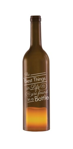 Pavilion Gift Company Wine All The Time 22020 Wine Bottle Candle Holder with LED Candle, The Best Things in Life, 11-Inch