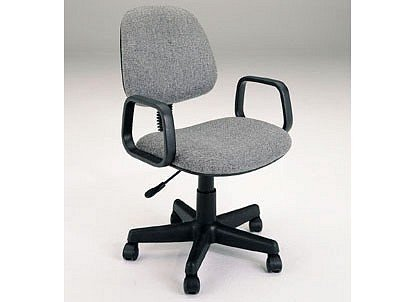 Gray Fabric Office Secretary Swivel Chair W/Casters & Pneuma