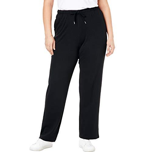 Woman Within Women's Plus Size Sport Knit Straight Leg Pant - Black, 2X