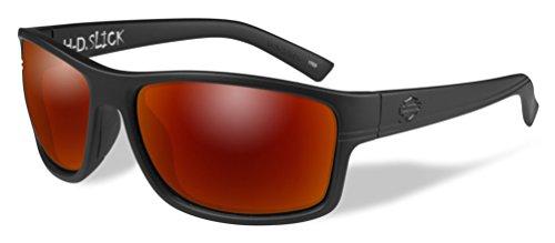 Harley-Davidson Men's Slick Sunglasses, Red Mirror Lens / Black Frames - Sunglasses Wiley Large X Heads