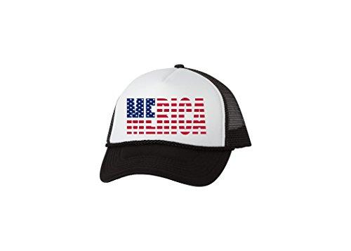 - Rogue River Tactical Funny Trucker Hat America Merica Baseball Cap Retro Vintage Patriotic USA Flag America (Black)
