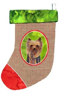 Multicolor 11 x 18 Carolines Treasures SC1014-CS Yorkie Christmas Stocking