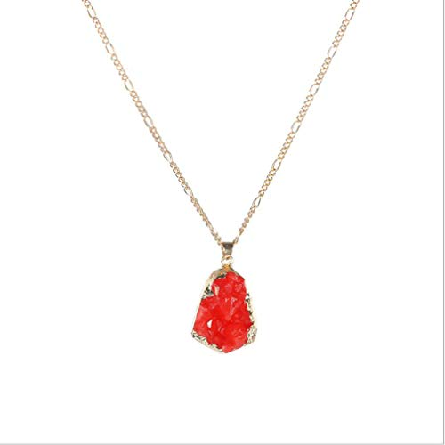Yunzee Crystal Teardrop Dripping Pendant Necklace Irregular Water Droplets Clavicular Chain Necklace for Women,red