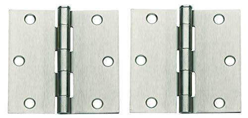 Global Door Controls 3.5 in. x 3.5 in. Satin Nickel Plain Bearing Steel Hinge - Set of 2 (Тwo Рack)