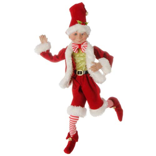 16 inch Posable Elf in Santa Outfit Christmas Decor by Raz Imports ()