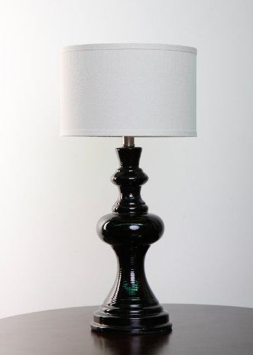 Urbanest Dexter Black Ceramic Table Lamp with Linen Drum Hardback Shade (Western End)