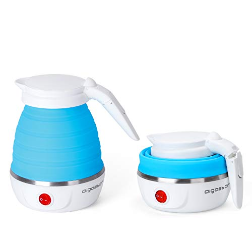 Aigostar Sapphire - Hervidor electrico plegable de viaje, doble voltaje 100~240V, mango Cool Touch, hasta 1000W de potencia, capacidad de 600 ml, recalentamiento automatico Libre de BPA