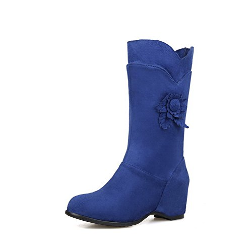 Allhqfashion Women's Frosted Pull-on Round Closed Toe Kitten-Heels Mid-top Boots Blue v6ansm38V