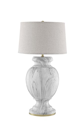 Catalina Lighting 20622-000 Transitional Urn Shaped Marble Table Lamp with Grey Linen Shade, 34