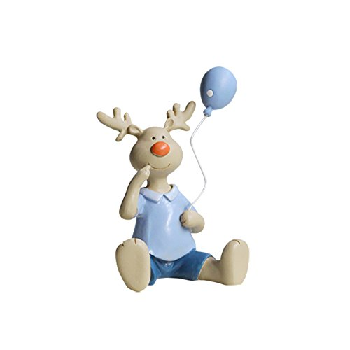Lovely Deer Reindeer with Balloon Figurine Statue, Hand Painted 4